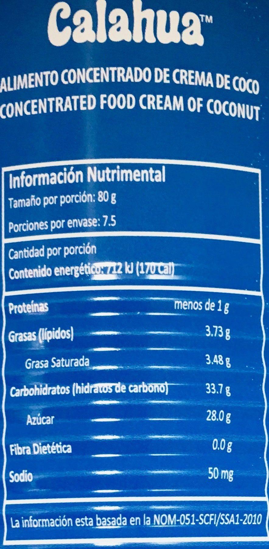 Calahua crema de coco - Nutrition facts