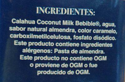 Coconut Milk + almendra - Ingrediënten - es