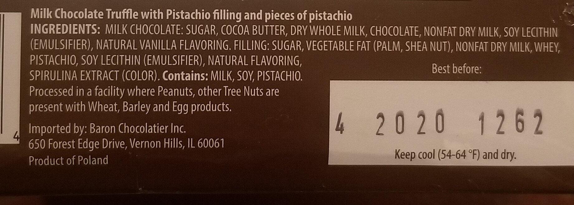 Premium Milk Chocolate Truffles Pistachio - Ingredients - en