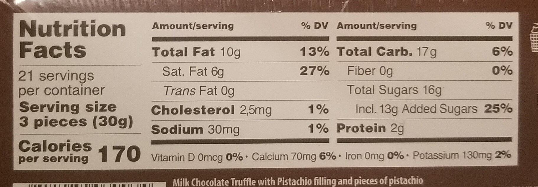 Premium Milk Chocolate Truffles Pistachio - Nutrition facts - en