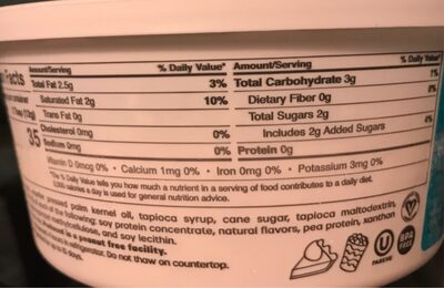 Vegan whipped topping - Nutrition facts - en