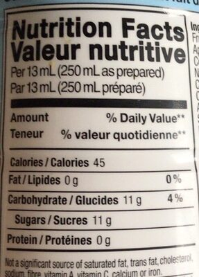 Orange mango syrup - Valori nutrizionali - en