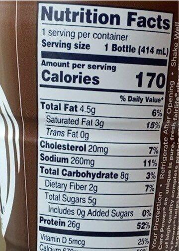 Core power - Informations nutritionnelles - en