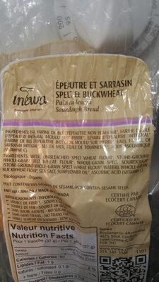 spelt & buckwheat sourdough bread - Ingrédients - en