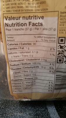 spelt & buckwheat sourdough bread - Informations nutritionnelles - en