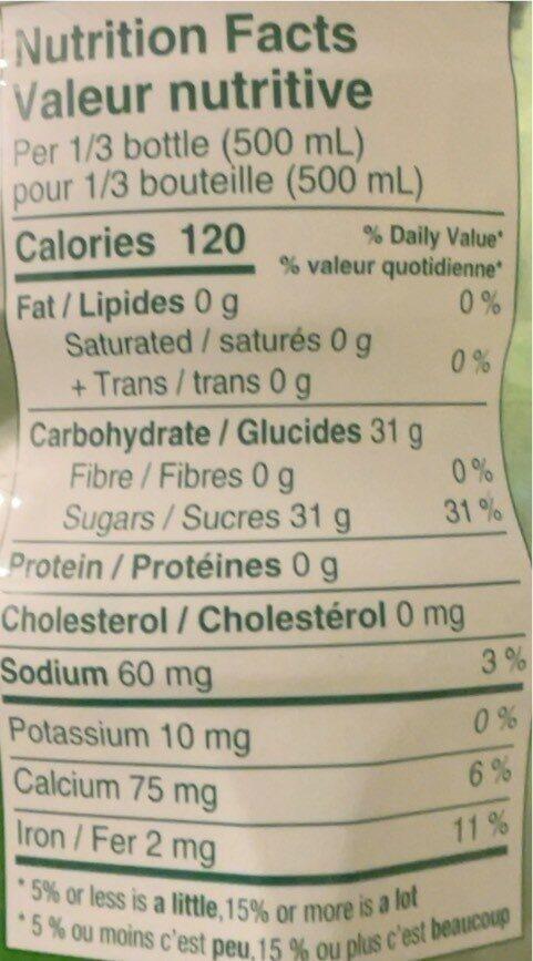 Aloe Vera Juice drink - Exposed - Nutrition facts - en