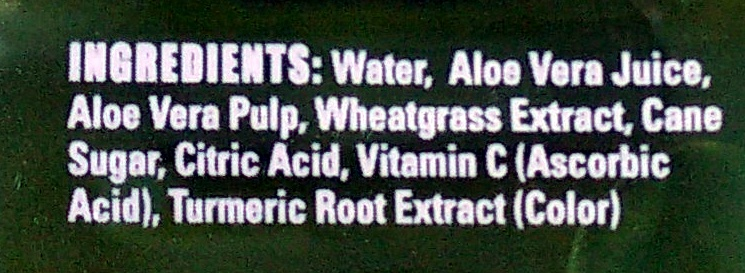 Aloe vera + wheatgrass juice drink - Ingredients - en