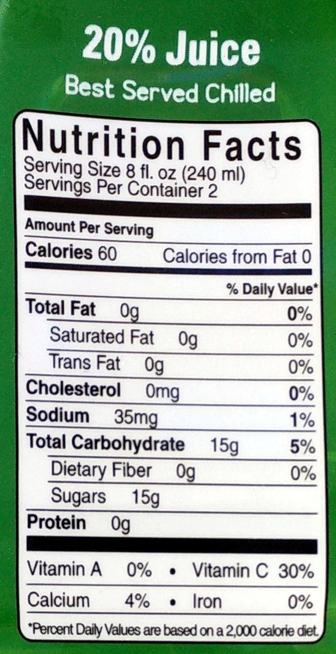 Aloe vera + wheatgrass juice drink - Nutrition facts - en