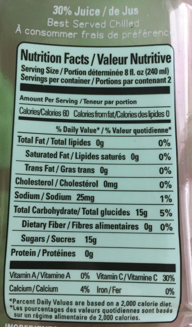 Juice Enrich Pomegranate + Cranberry - Nutrition facts