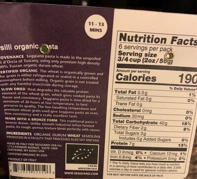 Seggiano organic fusilli pasta - Nutrition facts - en