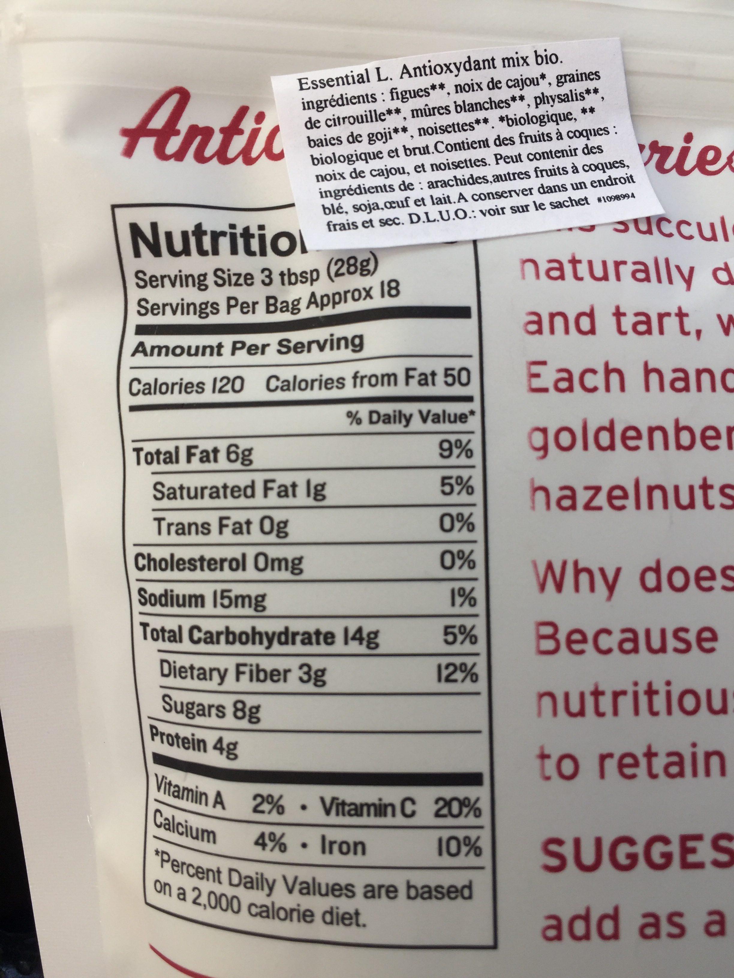 Antioxidant trail mix - Ingredients