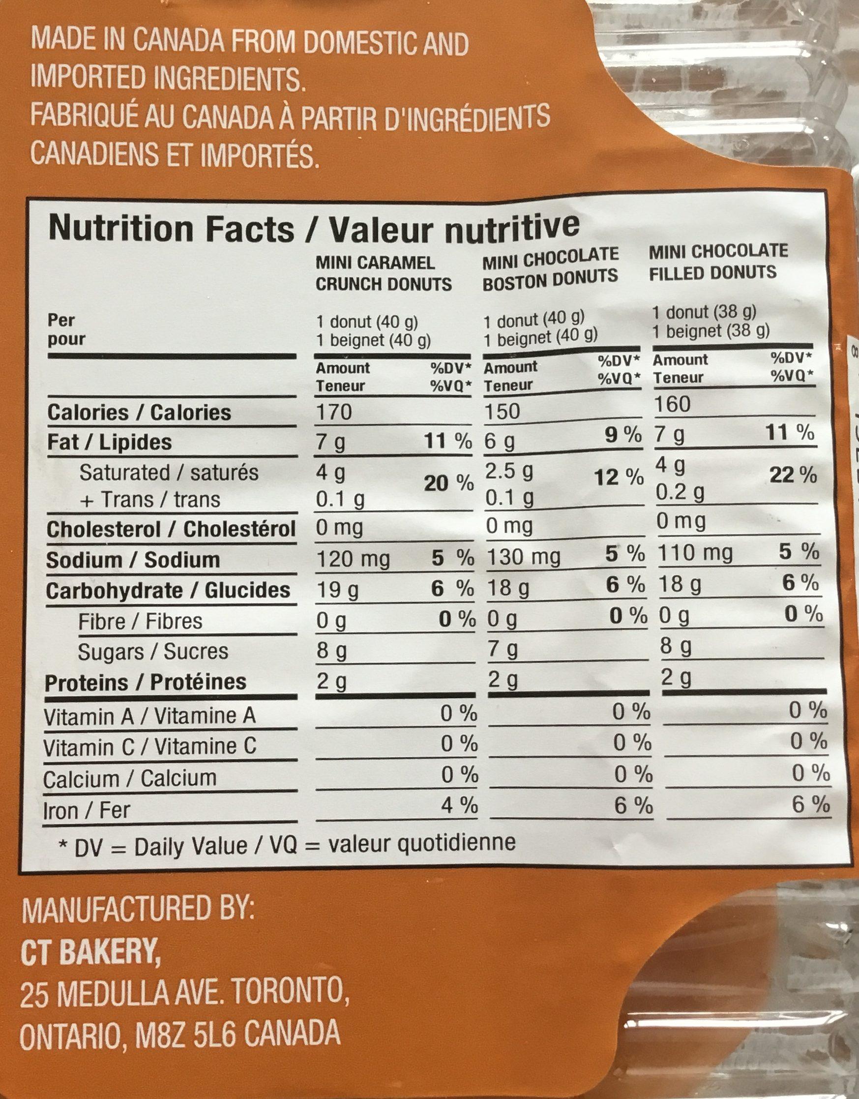 Mini beignes remplis (variés) - Nutrition facts - fr