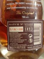 Bumbu Craft Rum 70 CL Fles - Ingredients - fr