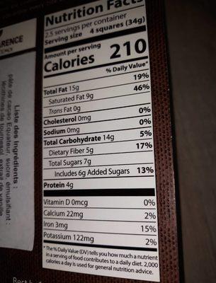 Chocolat 80 % de cacao - Voedingswaarden - fr