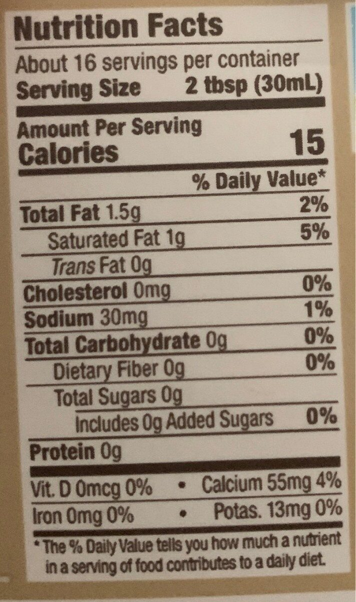 Unsweetened better half coffee creamer - Nutrition facts - en