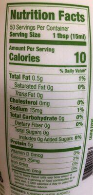 Unsweetened almondmilk creamer, unsweetened - Nutrition facts - en