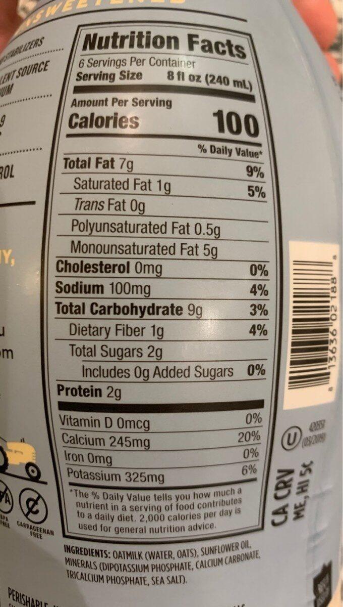 Oat milk - Nutrition facts