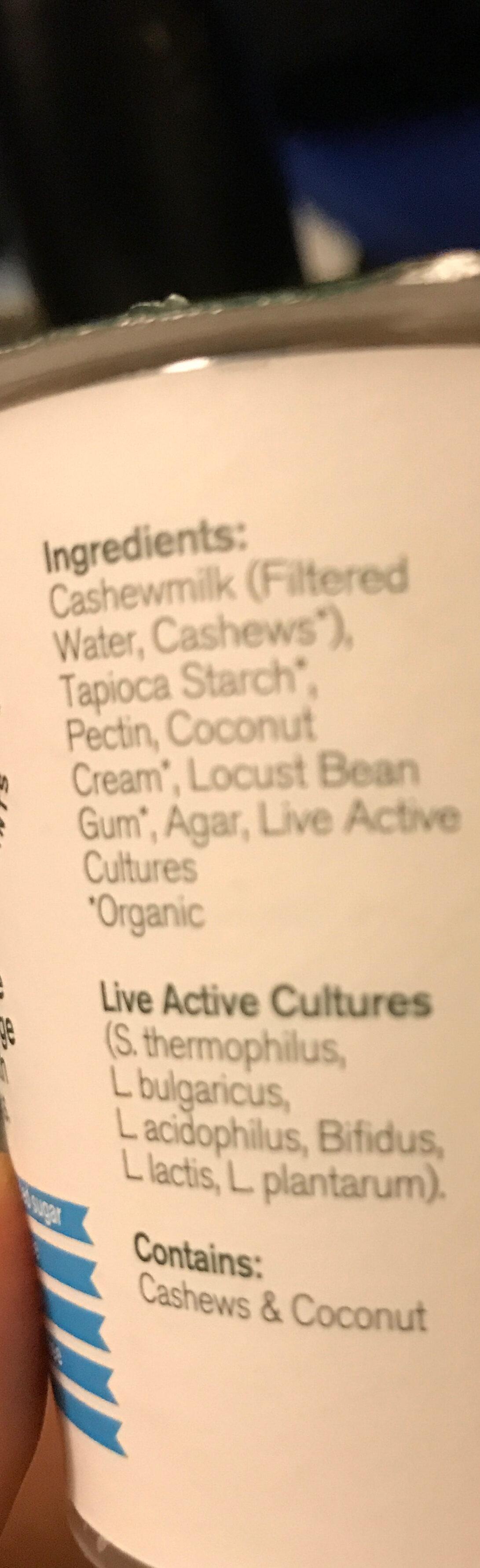 Organic dairy-free cashewgurt - Ingredients
