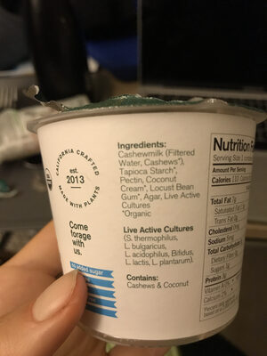 Organic yogurt alternative - Nutrition facts