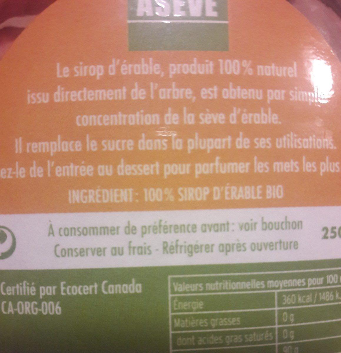 Sirop d'érable bio - Ingredients