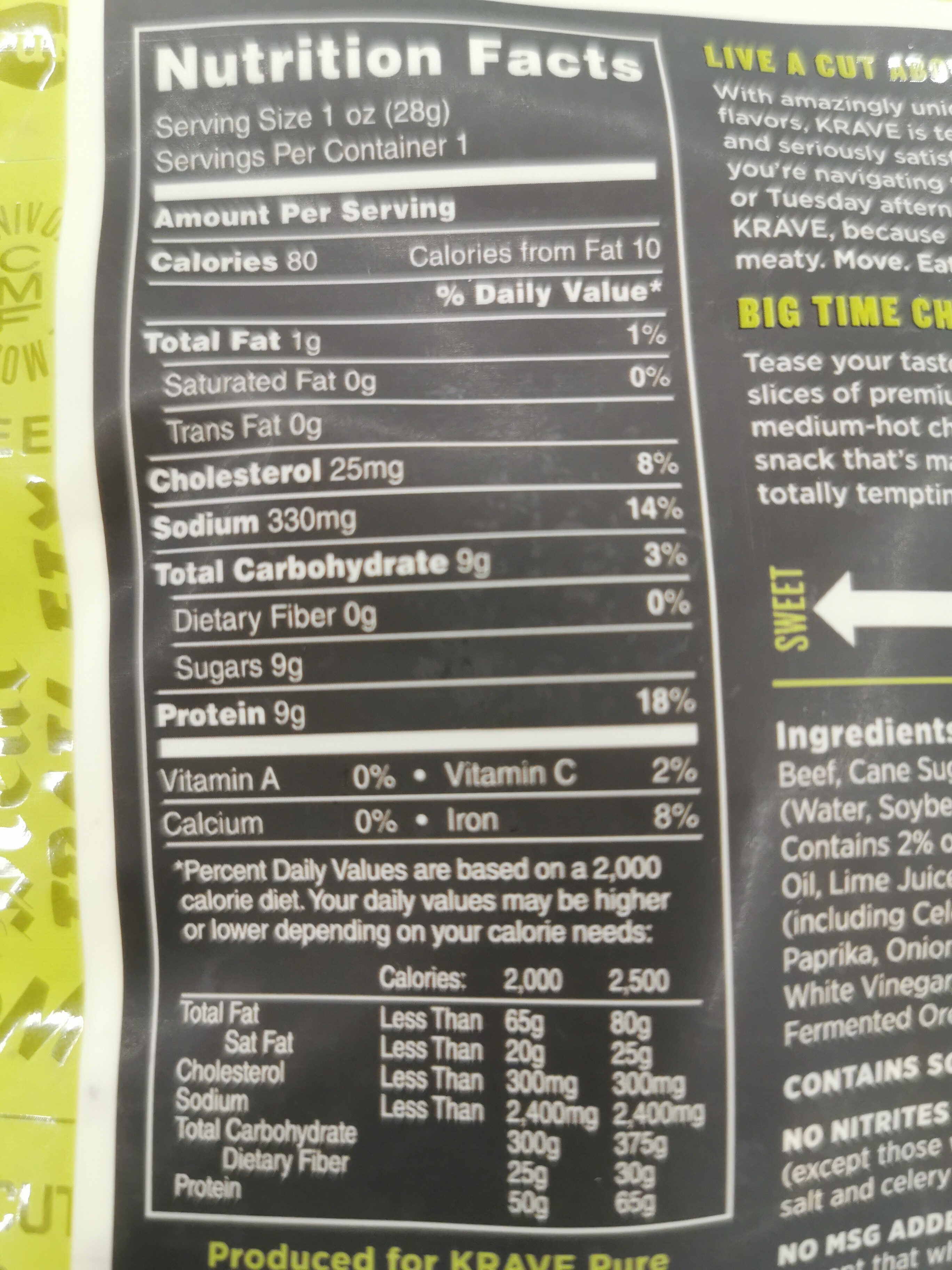 Chili lime - Nutrition facts - fr