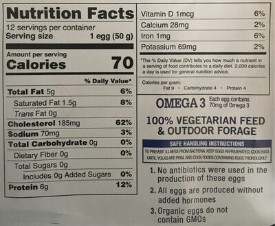Pete and Gerry's Organic Eggs Grade Aa Large - 12 CT - Nutrition facts