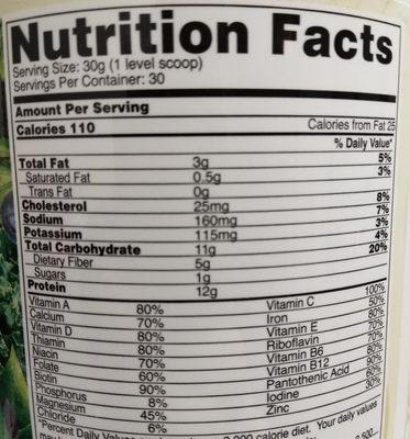 IdealShake Vanilla Superfood Blend - Nutrition facts - en