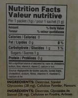 Édulcorant zéro calories - Stevia - Informations nutritionnelles - en
