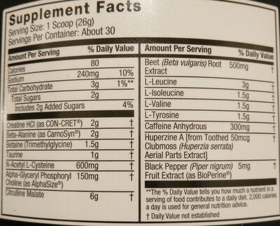 Jym Pre - Nutrition facts - en