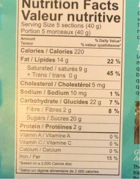 Tablette chocolat noir noix de coco caramel - Nutrition facts - fr