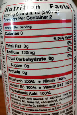 Diet energy drink - Nutrition facts
