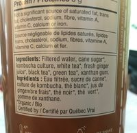 Kombucha organic bio gingembre - Ingrédients - fr