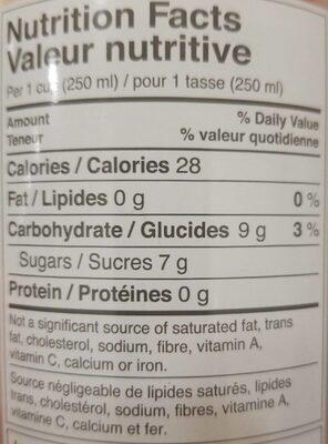 Kombucha - Nutrition facts - en