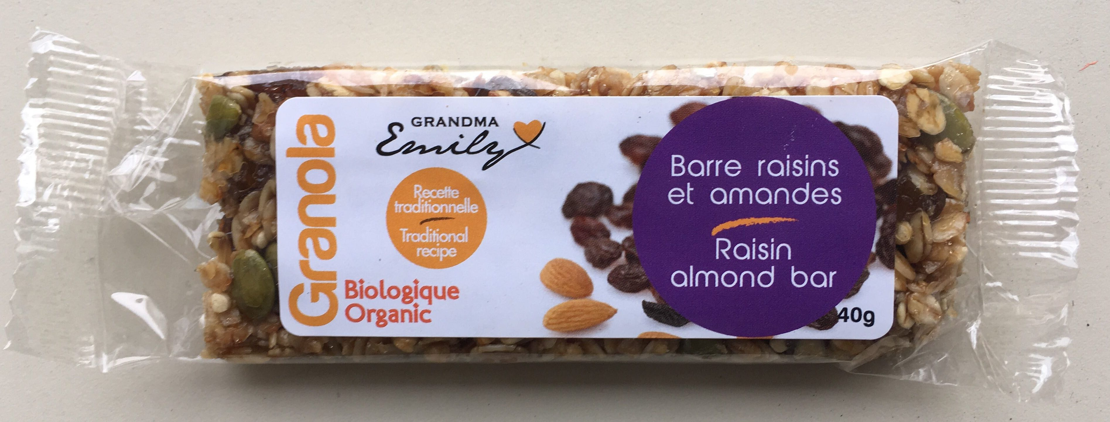 Raisin almond bar - Product - en