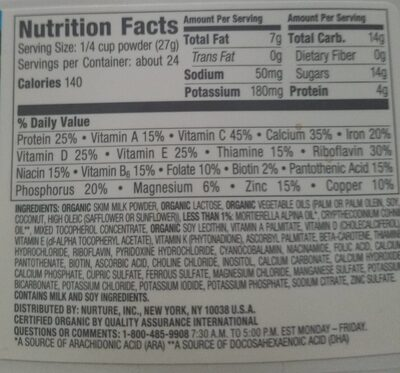 Happytot organic toddler milk drink - Nutrition facts - en