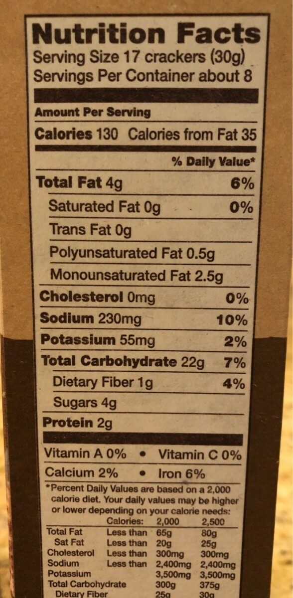 Crispy wheat crackers - Nutrition facts