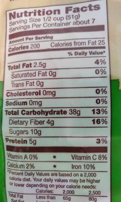 Classic Granola Gluten Free - Nutrition facts