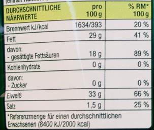 Grana Padano gerieben - Nutrition facts - de