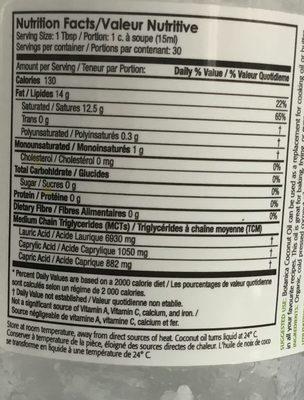 Huile de Noix de Coco - Nutrition facts