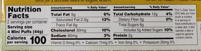 Dolce tuscano, cream puffs, mini vanilla - Nutrition facts - en