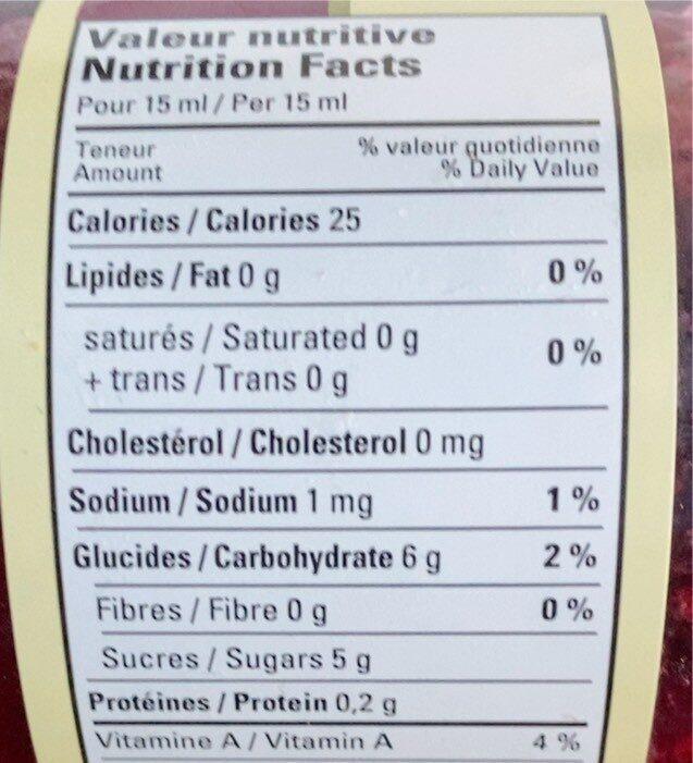 Cerises à tartiner - Informations nutritionnelles - fr