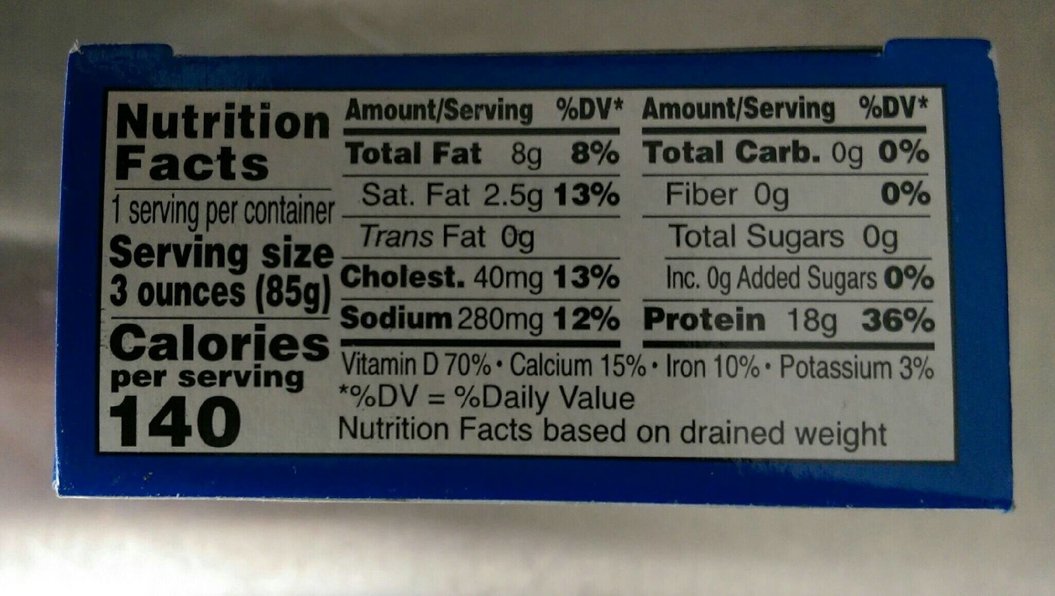 Sardines in water - Nutrition facts