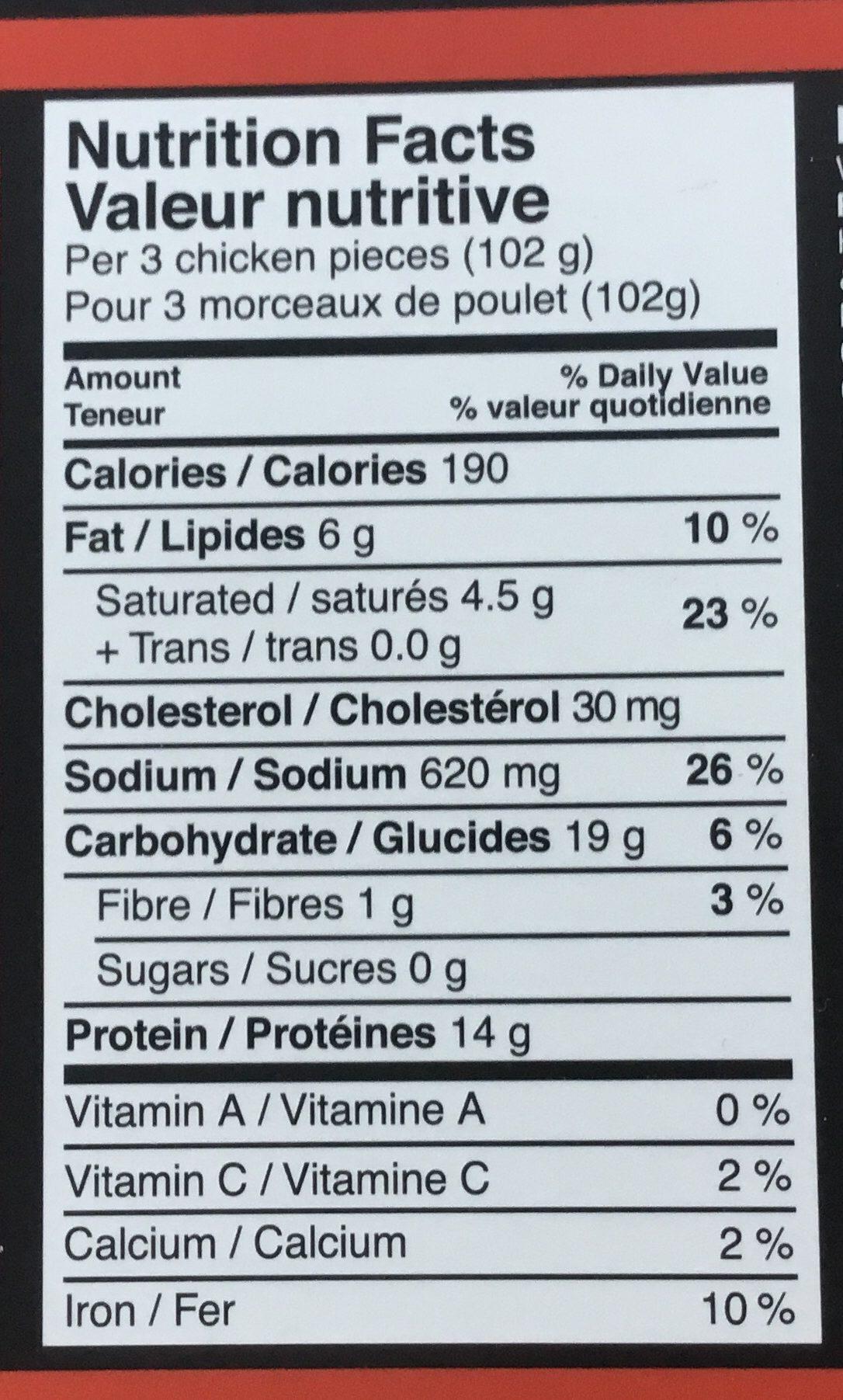 Bouchées de poitrine de poulet - Nutrition facts - fr