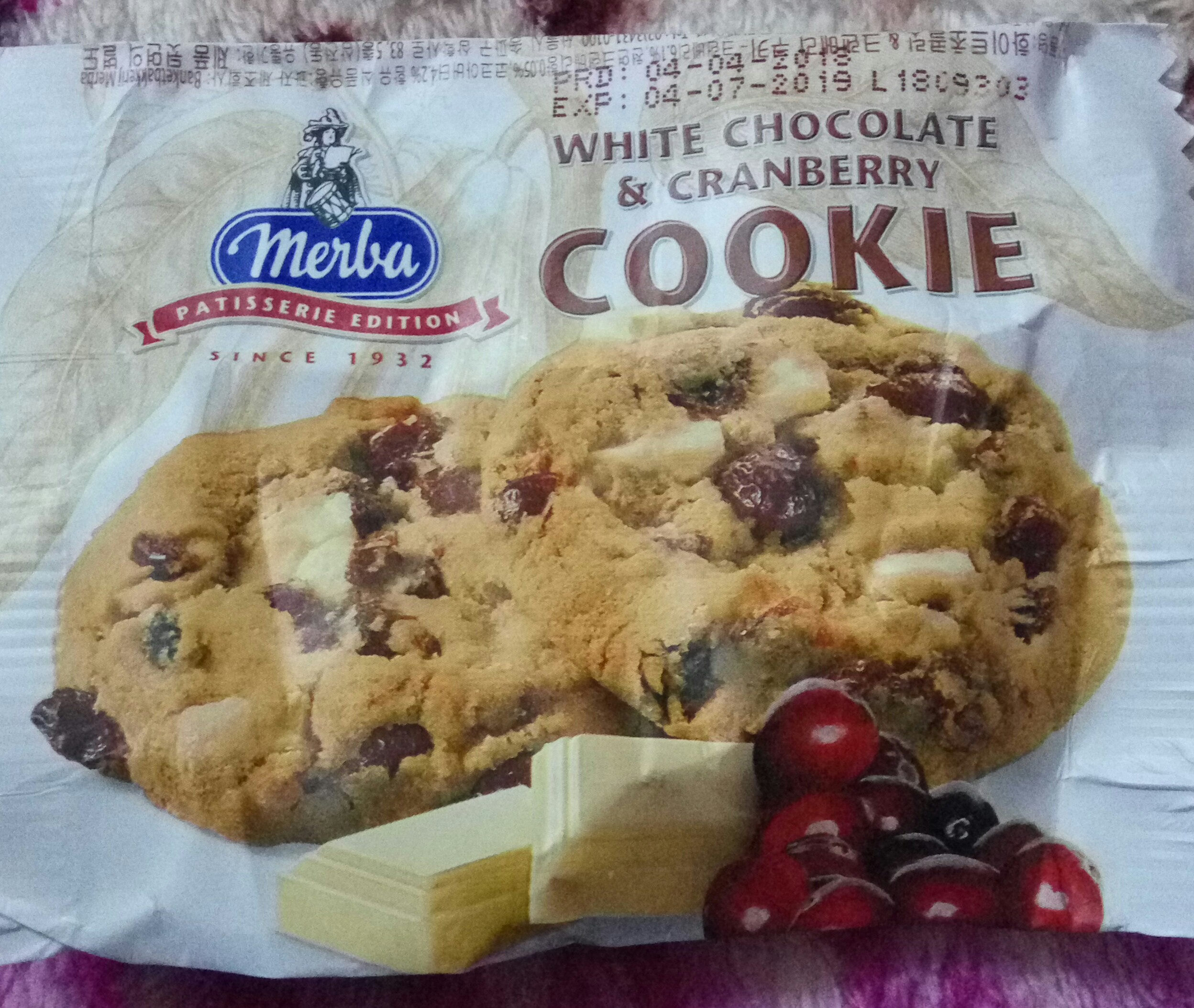 white chocolate & cranberry cookie - Product - en