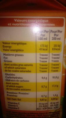 100% pur  jus orange - Informations nutritionnelles - fr