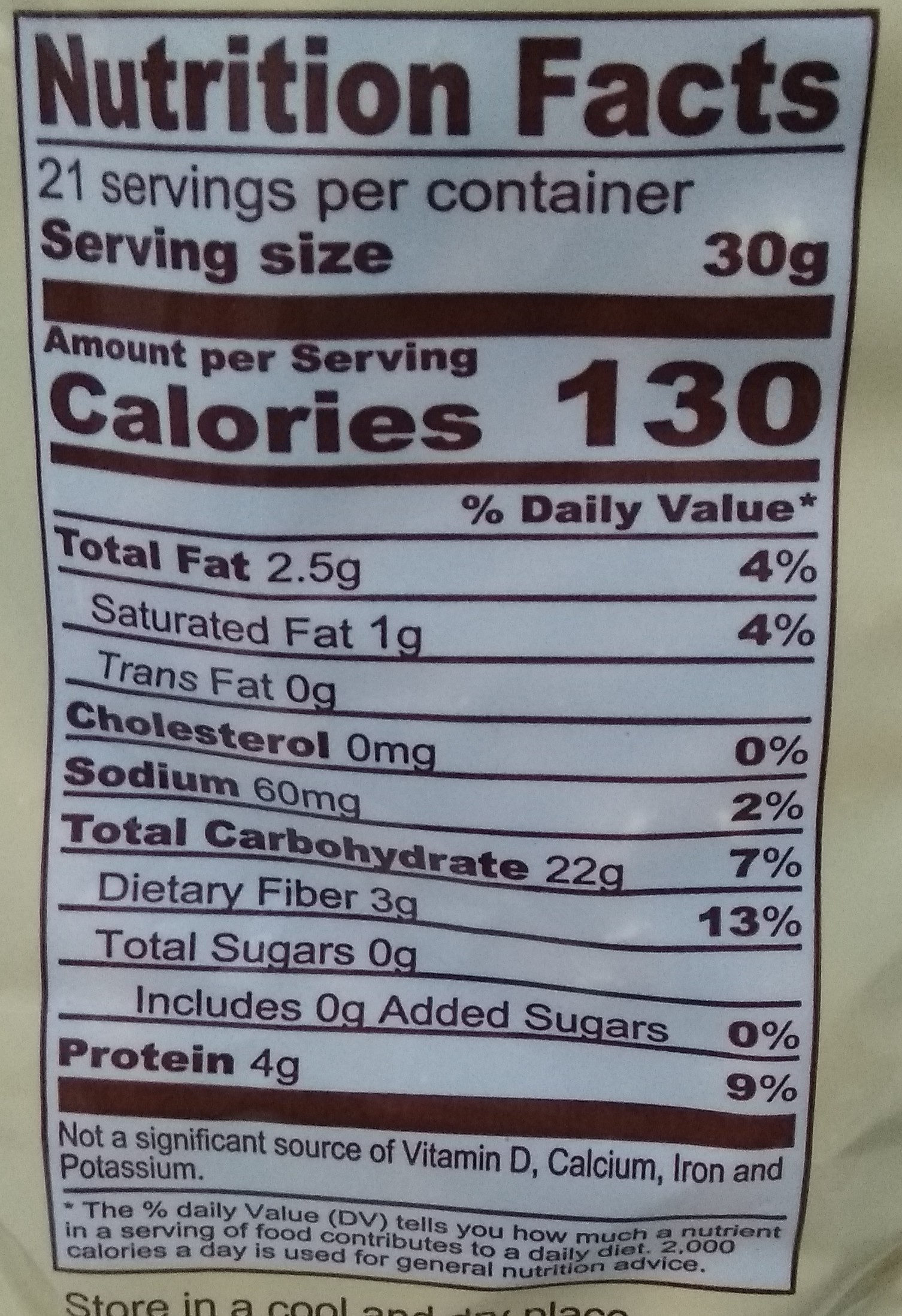 Pretzel Sticks - Nutrition facts
