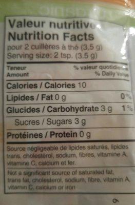 Flocons D'érable Biologiques - Nutrition facts - fr