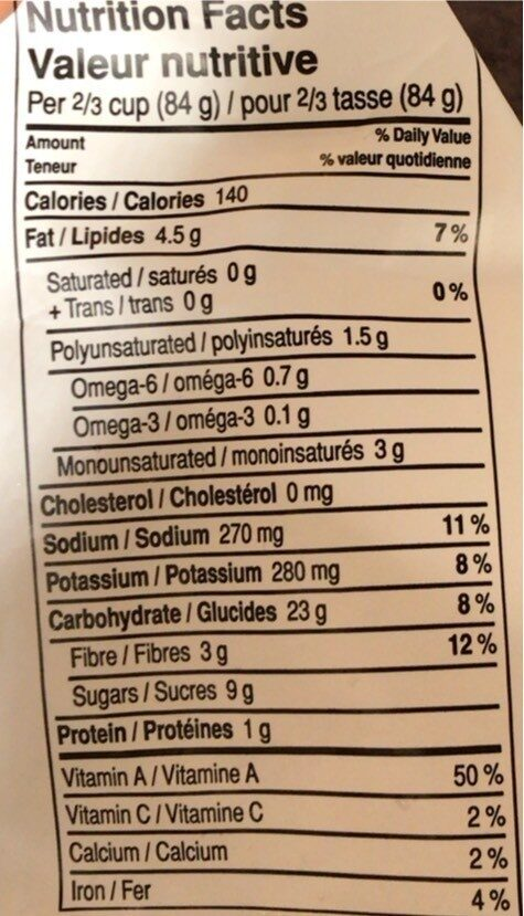 Dauphine patate douce - Nutrition facts - en