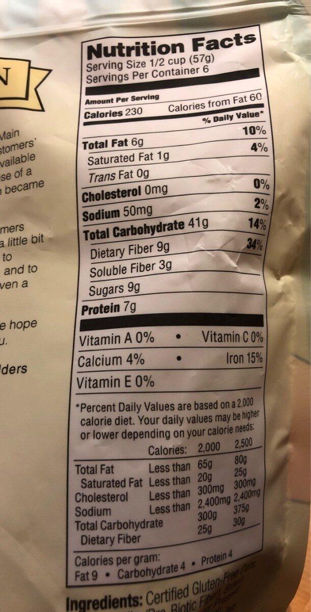 Gluten free granola - Nutrition facts - en