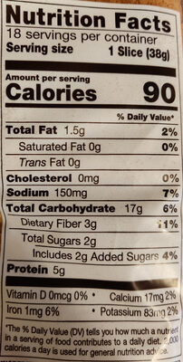 Bread - Nutrition facts